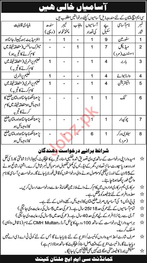 CMH Multan Jobs Store Man, Medical Assistant, Cook, Guards