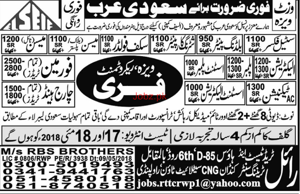 Steel Fixers, AC Technicians, Foreman Job Opportunity