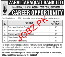 Zarai Tarakiati Bank Limited ZTBL Management Jobs