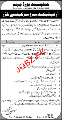 Cantonment Board Jhelum Architects Jobs