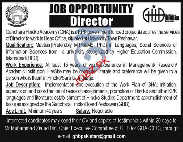 Gandhara Hindko Academy GHA Director Jobs