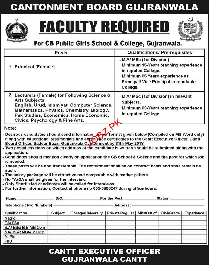 CB Public Girls School & College Gujranwala  Teaching Jobs