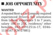 Rent-A-Car Company Job 2018 For Driver In Lahore
