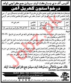 District & Session Court Karachi Job 2018