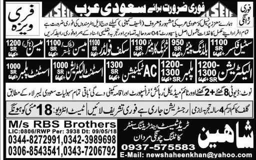 AC Technicians, Plumbers, Assistant Plumbers Wanted