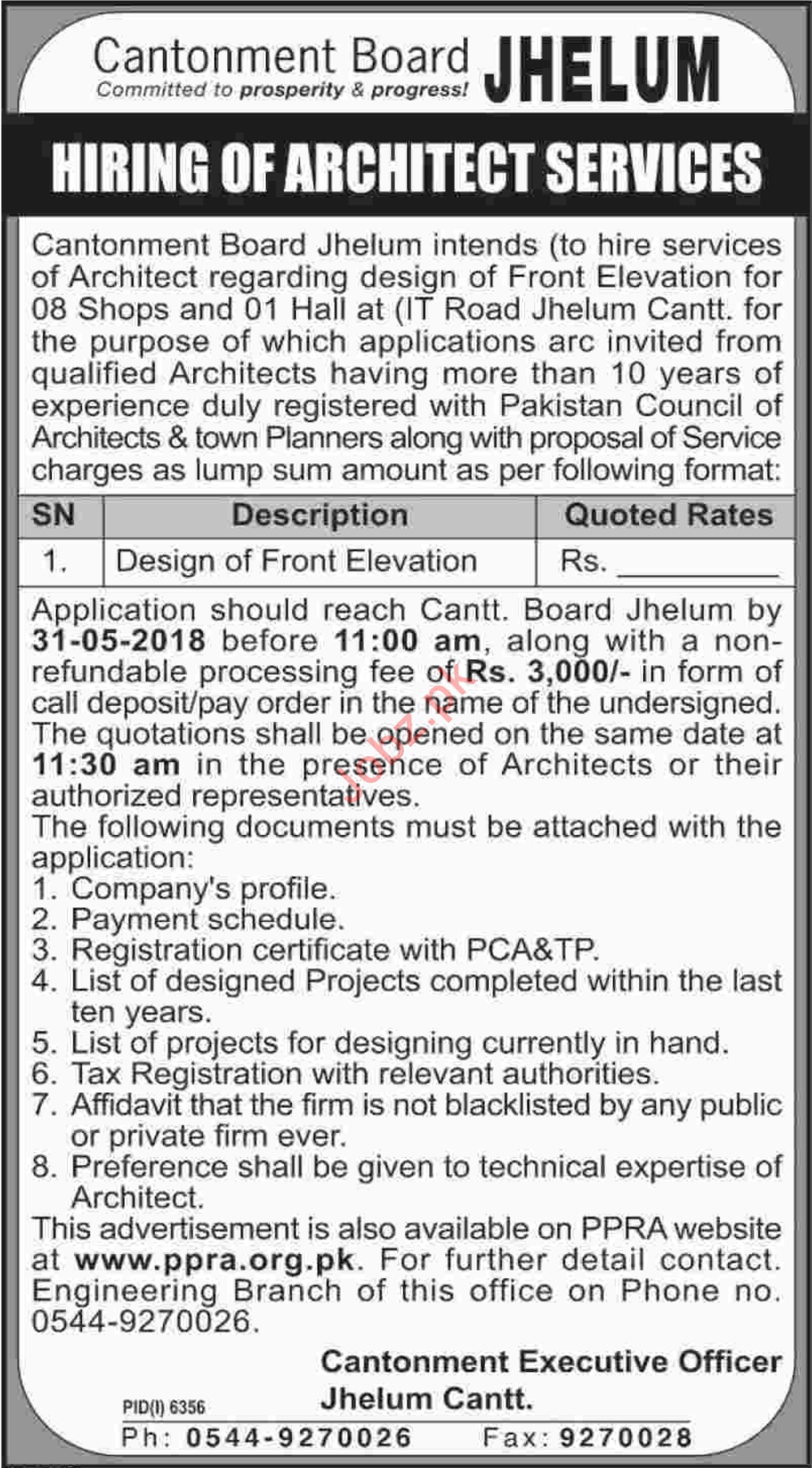 Cantonment Board CB Jhelum Hiring Architect Services