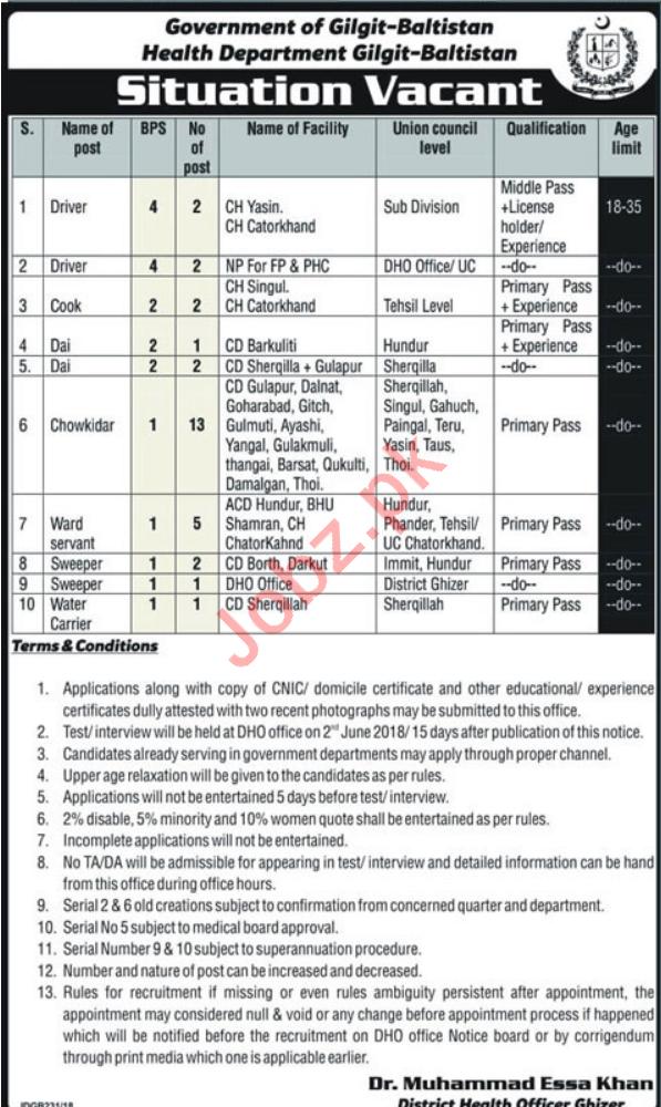 Health Department Gilgit Baltistan Jobs Drivers & Watchman