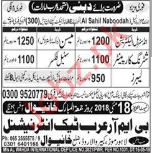 Industrial Technician & Shuttering Carpenter Jobs 2018