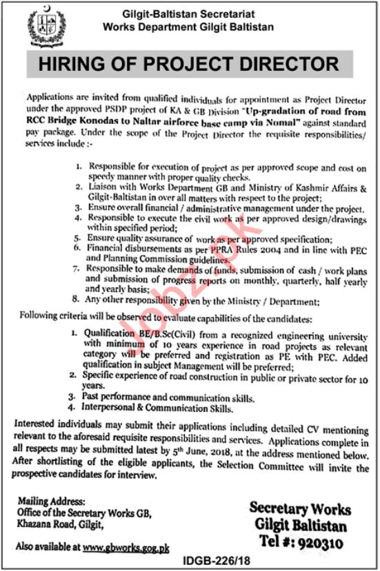 Works Department Gilgit Baltistan Secretariat Jobs 2018