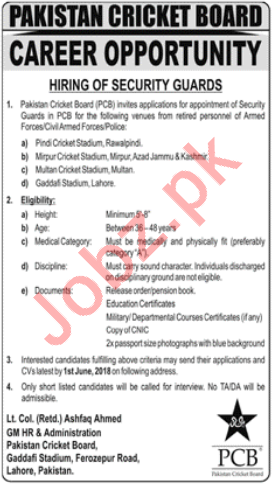 Pakistan Cricket Board PCB Lahore Jobs 2018 Security Guards