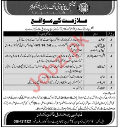 National University of Modern Languages NUML Gwadar Jobs