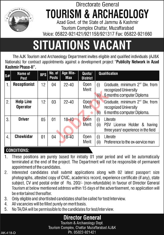 Directorate General Tourism & Archaeology AJK Jobs 2018