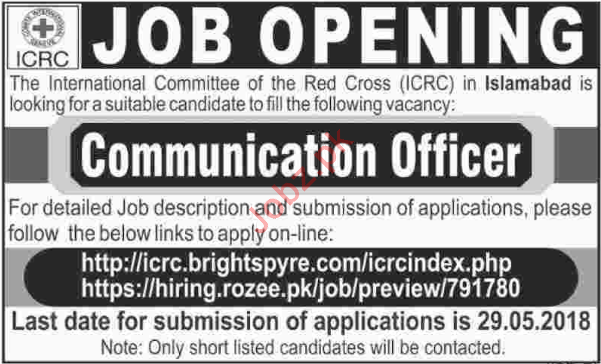 International Committee of the Red Cross ICRC Islamabad Jobs