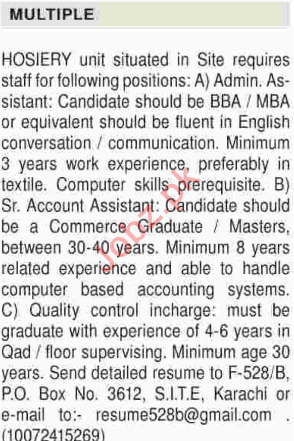 Admin Asst, Account Asst & Quality Control Incharge Jobs