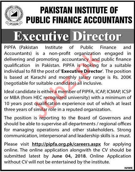 Pakistan Institute of Public Finance Accountants PIPFA Jobs