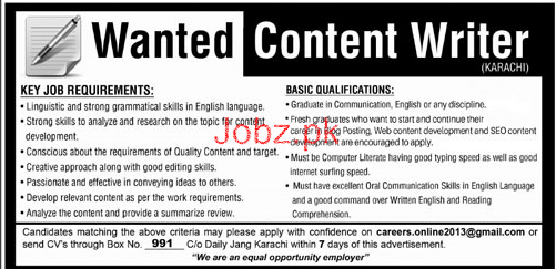 Content Writers Job Opportunity