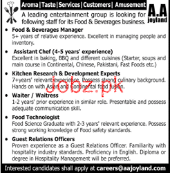 AA Joyland Private Limited Food & Beverage Manager Jobs