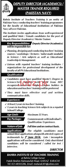 Pakistan Navy Deputy Director Academics Jobs