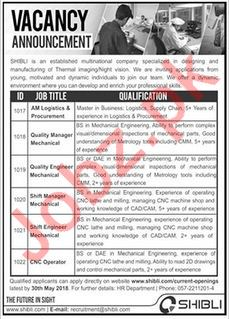 Shibli Electronics Islamabad Jobs for Managers & Engineers