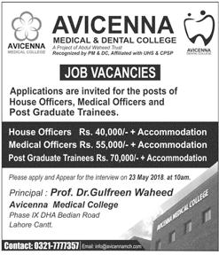 Jobs at Avicenna Medical & Dental College AMDC