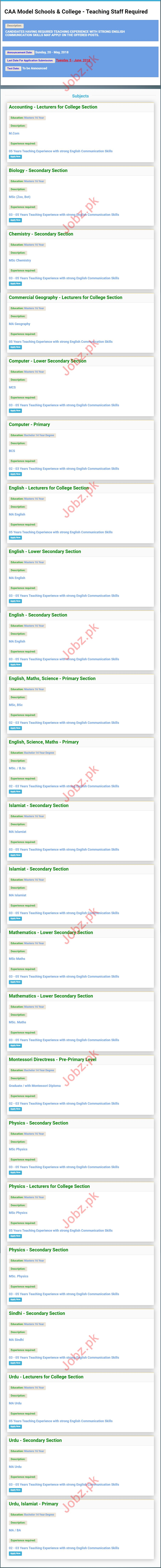 CAA Model Schools & College Karachi Jobs 2018 for Teachers