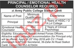 Army Public College Sialkot Jobs