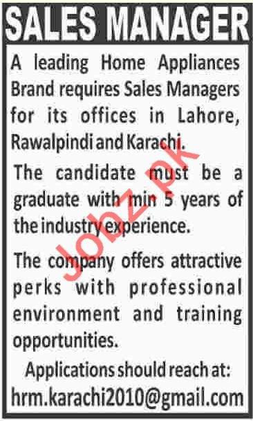 Sales Manager Job 2018 in Karachi