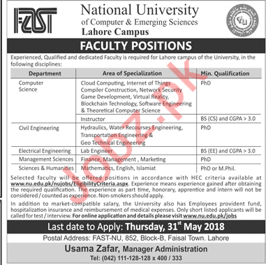 FAST National University Lahore Campus Careers