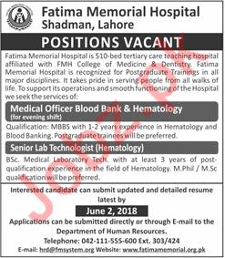 Fatima Memorial Hospital Shadman FMHS Jobs