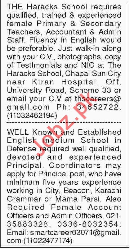 Teachers, Accounts Officer & Admin Officers Jobs 2018