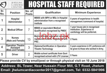 Jhelum Cardiac Center Hospital Administrator Jobs