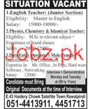 English Teachers Junior Section Job Opportunity