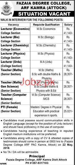 Fazaia Degree College ARF Kamra Attock Jobs