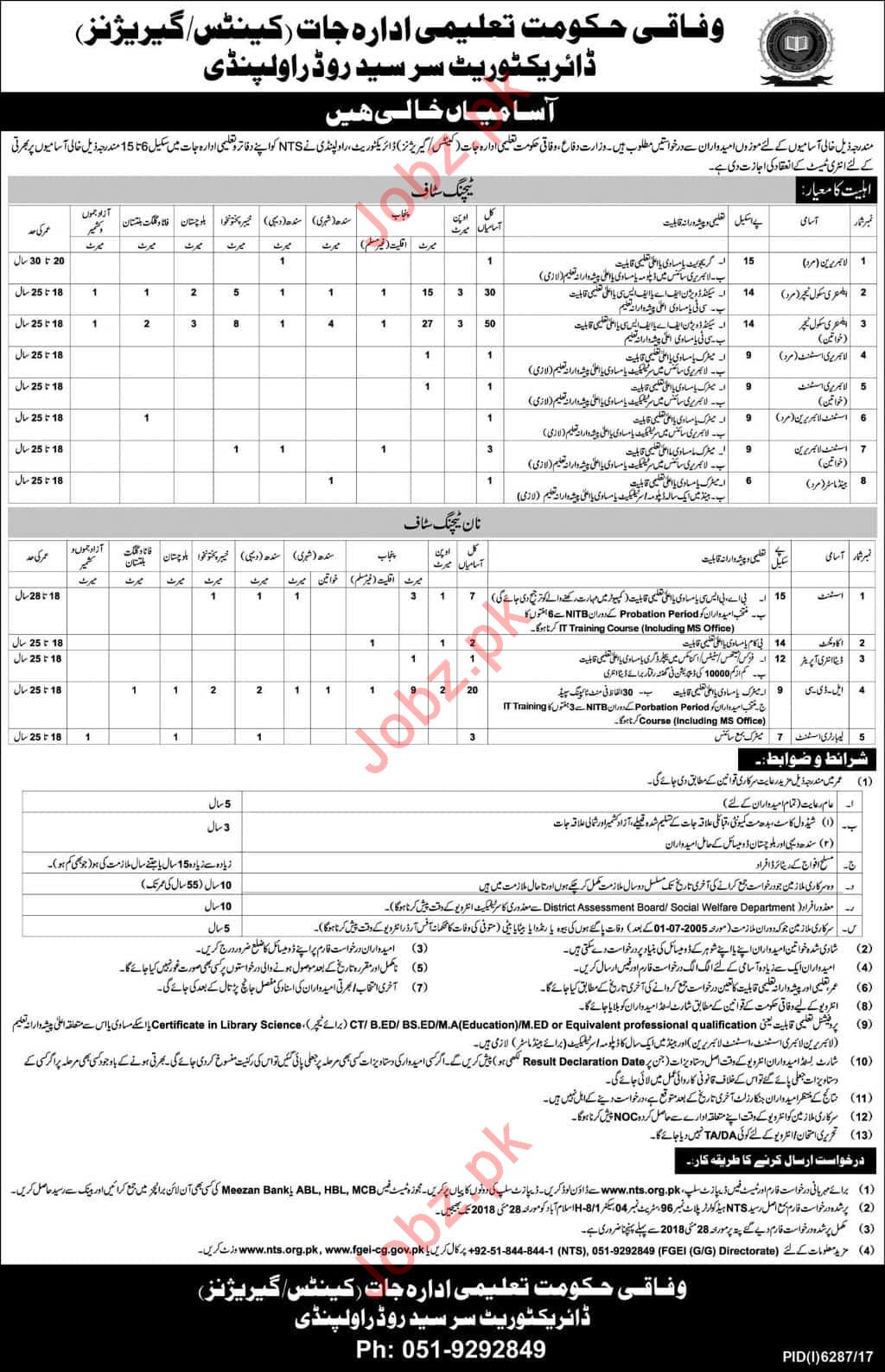 Federal Govt Educational Institutions FGEI Rawalpindi Jobs