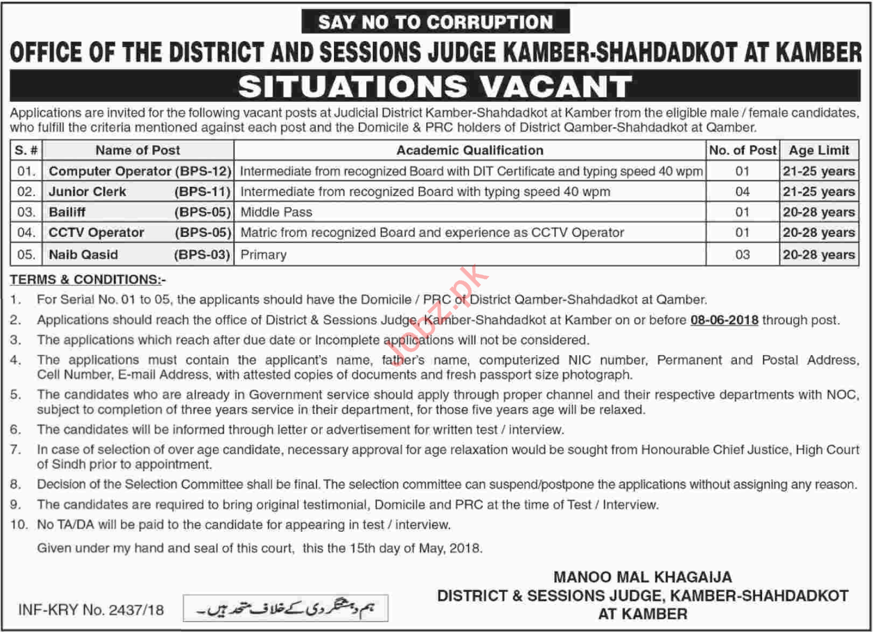District & Session Judge Kamber Shahdadkot Jobs 2018