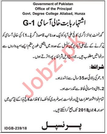 Govt Degree College Aliabad Hunza Jobs 2018