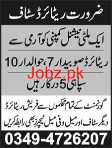 Army Retired Havaldars, Army Retired Subdars Job Opportunity