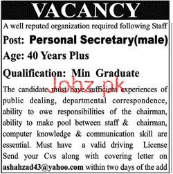 Male Personal Secretary Job Opportunity