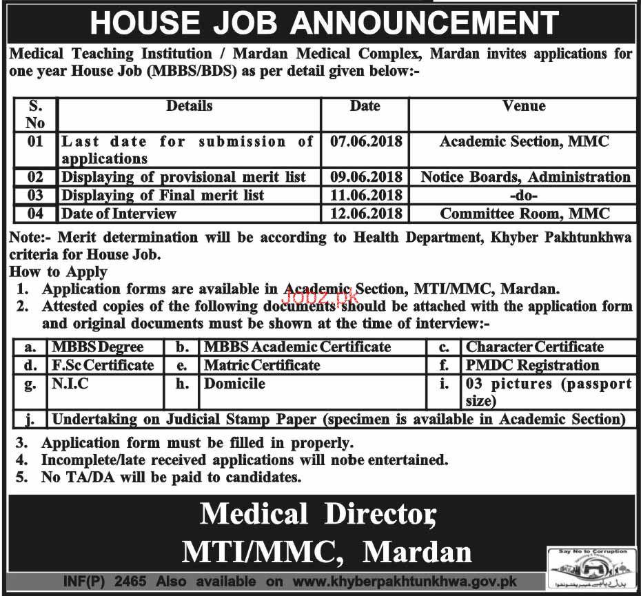 Medical Teaching Institution MIT /Mardan Medical Complex Job