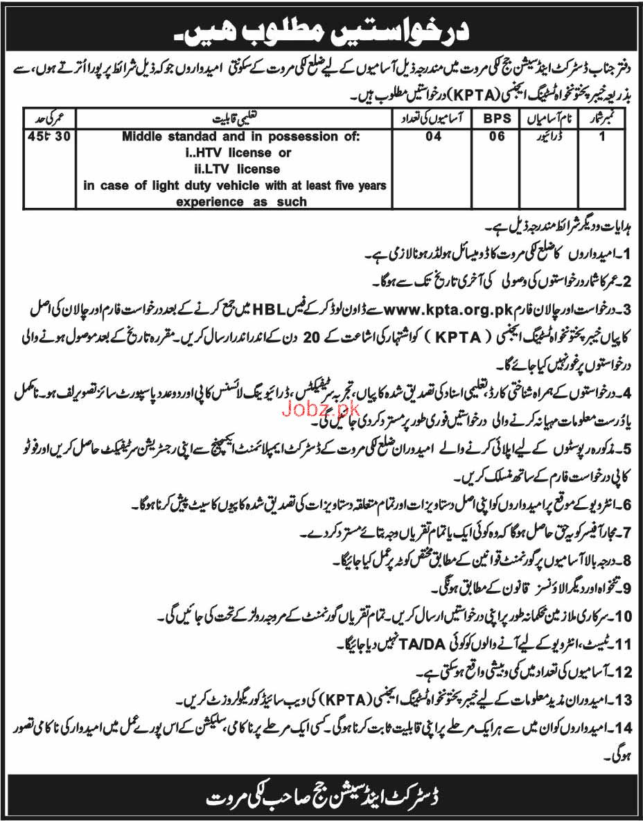 District and Session Judge Lakki Marwat Jobs
