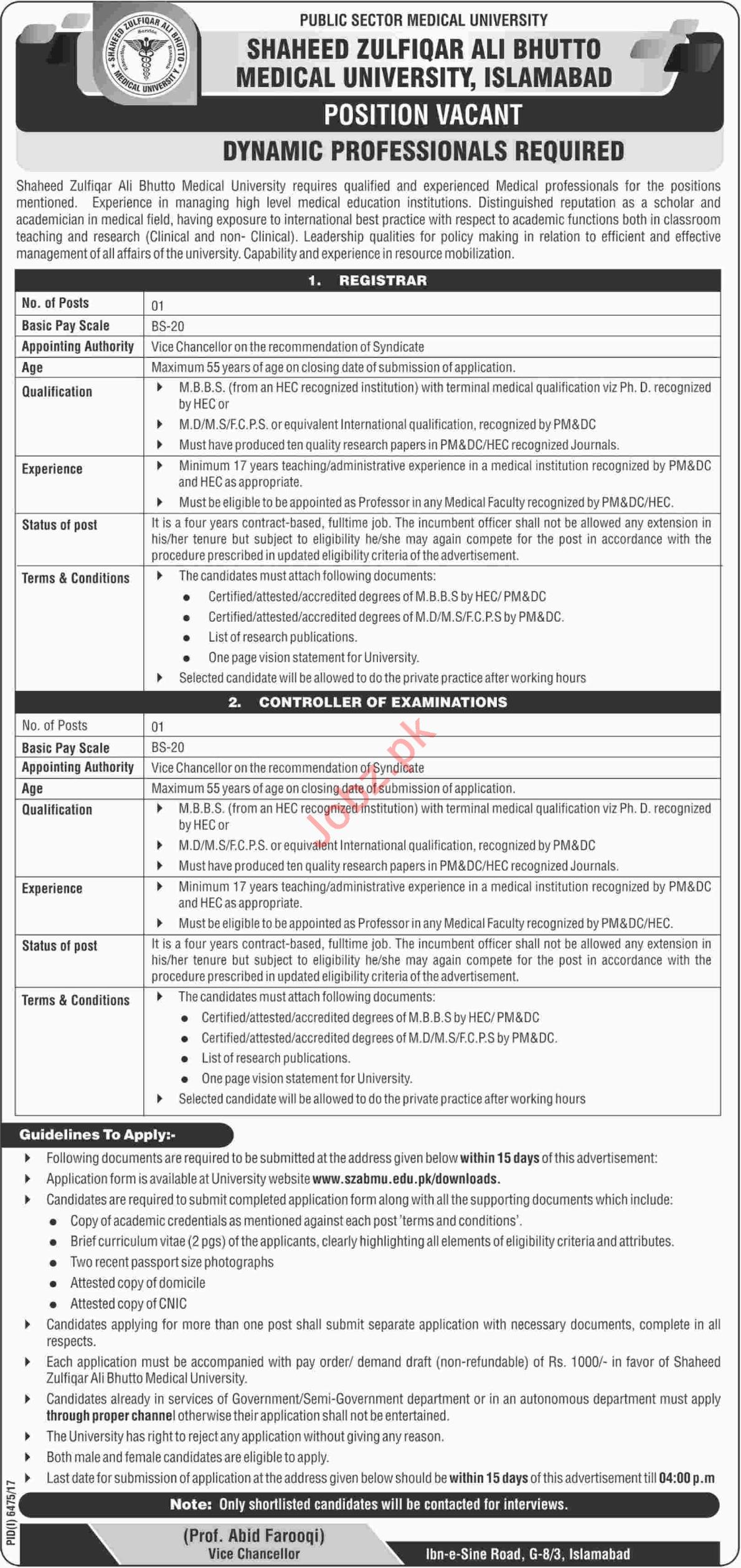 SZABMU Islamabad Jobs Registrar & Controller of Examinations