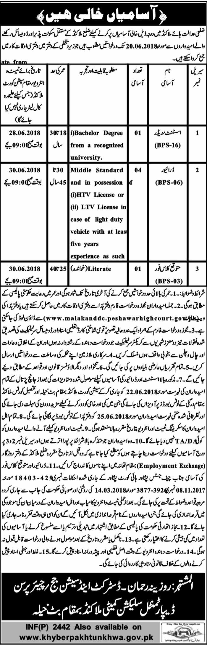 District and Session Judge Assistant Reader Jobs