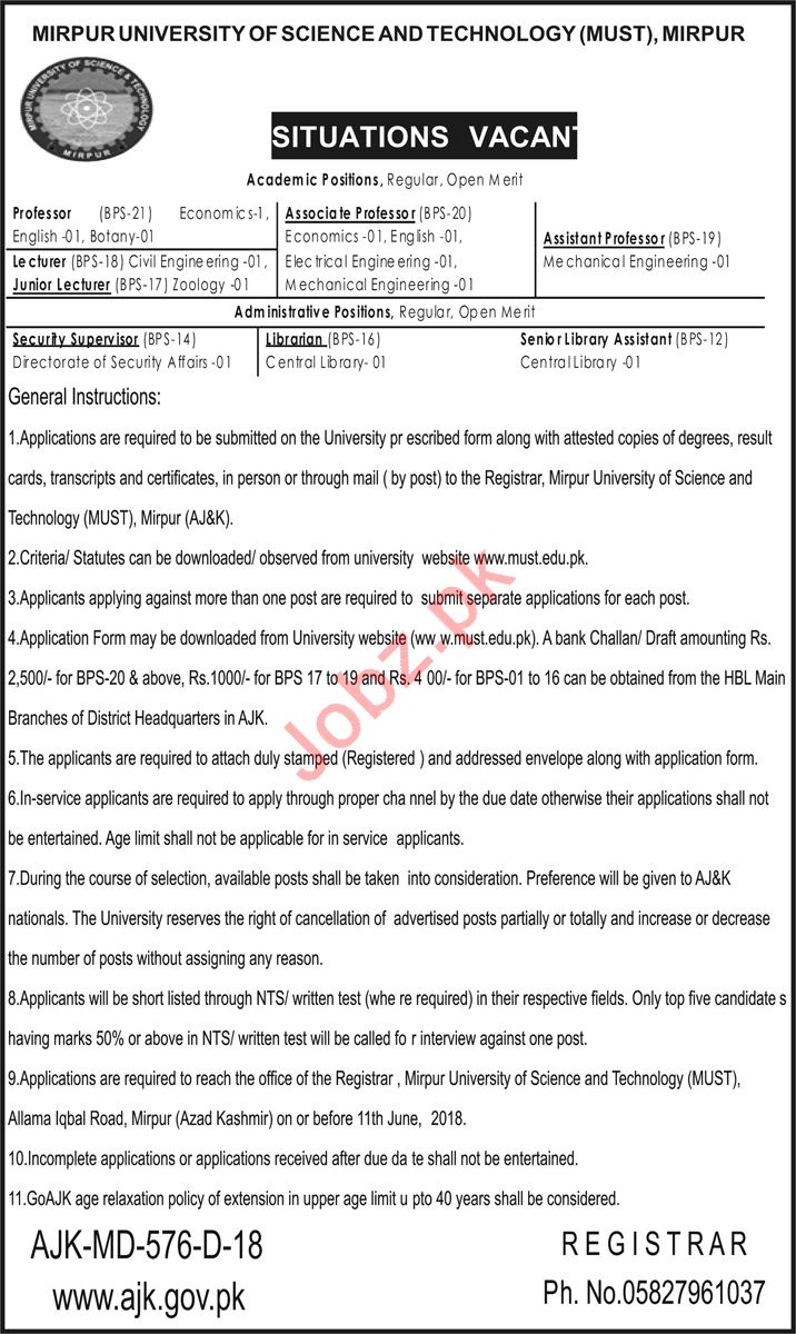 Mirpur University of Science And Technology MUST Job via NTS