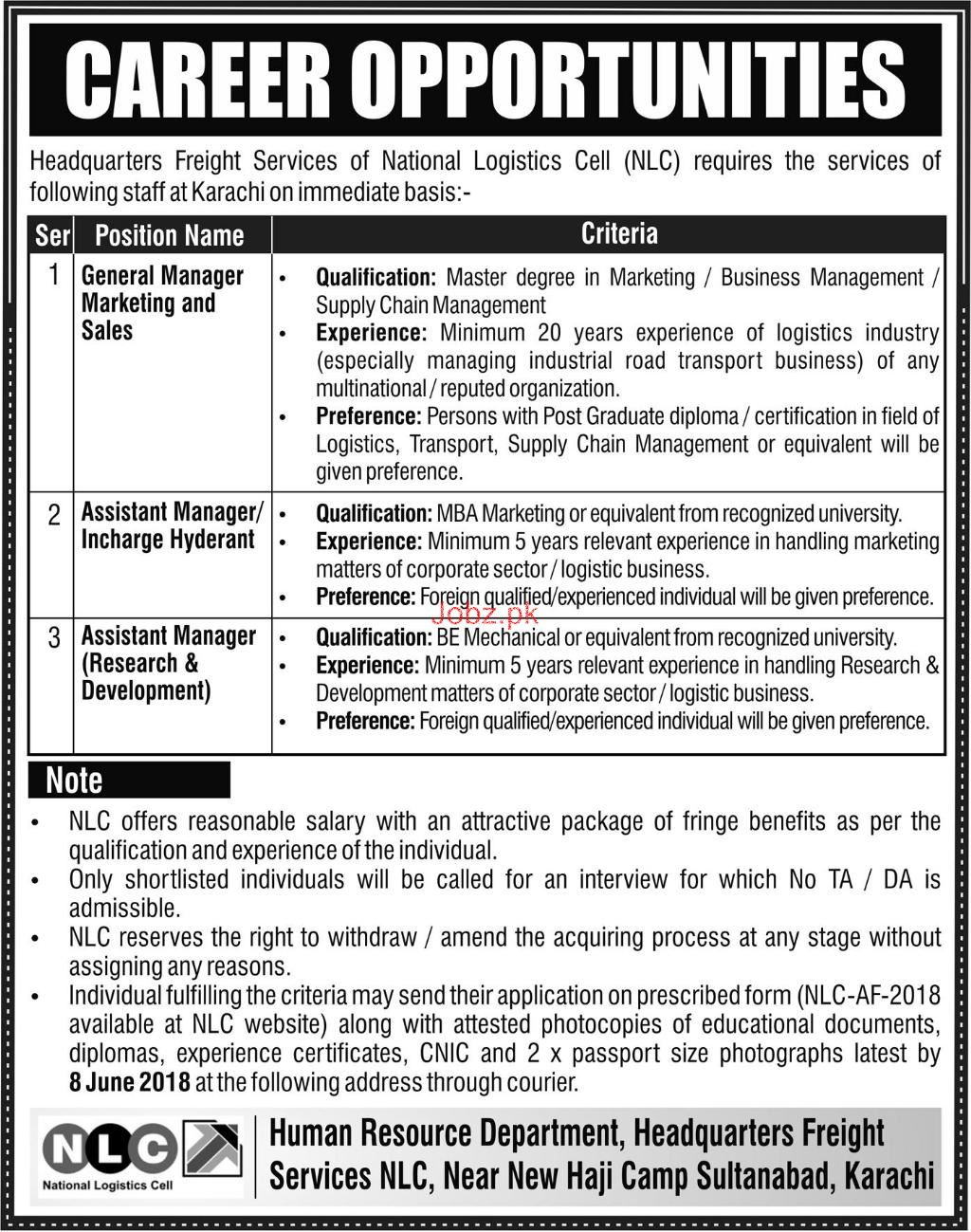 Headquarter Freight Services National Logistics Cell NLC Job