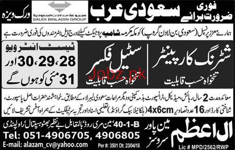 Shuttering Carpenters and Steel Fixers Job Opportunity