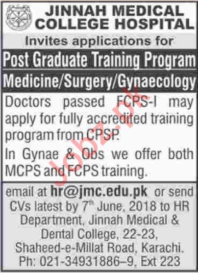 Jinnah Medical College Hospital JMC Jobs
