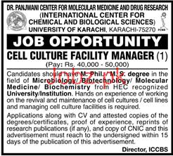 University of Karachi Cell Culture Facility Manager Job