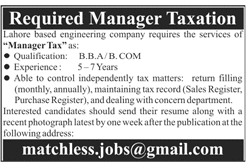 Manager Taxation Jobs 2018 in Lahore