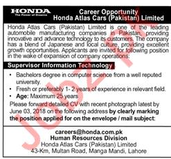 Honda Atlas Cars Pakistan Limited Lahore Jobs 2018 2019 2018 Jobs