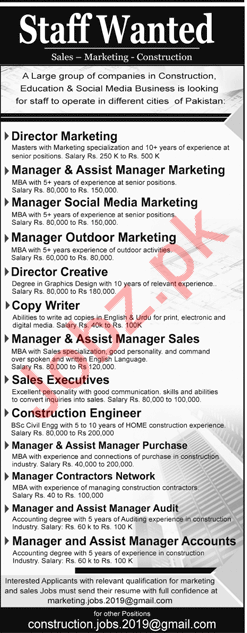 Director Marketing, Director Creative & Sales Executives Job